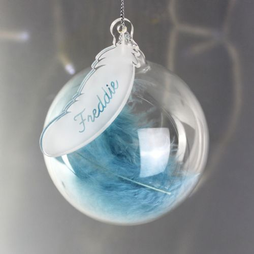 Personalised Blue Feather Christmas Bauble Gift Keepsake Any Name